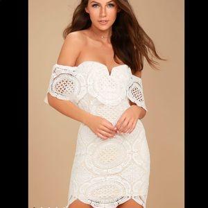 Lulus White Crochet Off-the-Shoulder Bodycon Dress